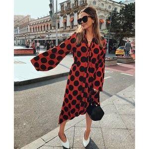 NWT Zara SS18 Size M Polka Dot Bow Dress